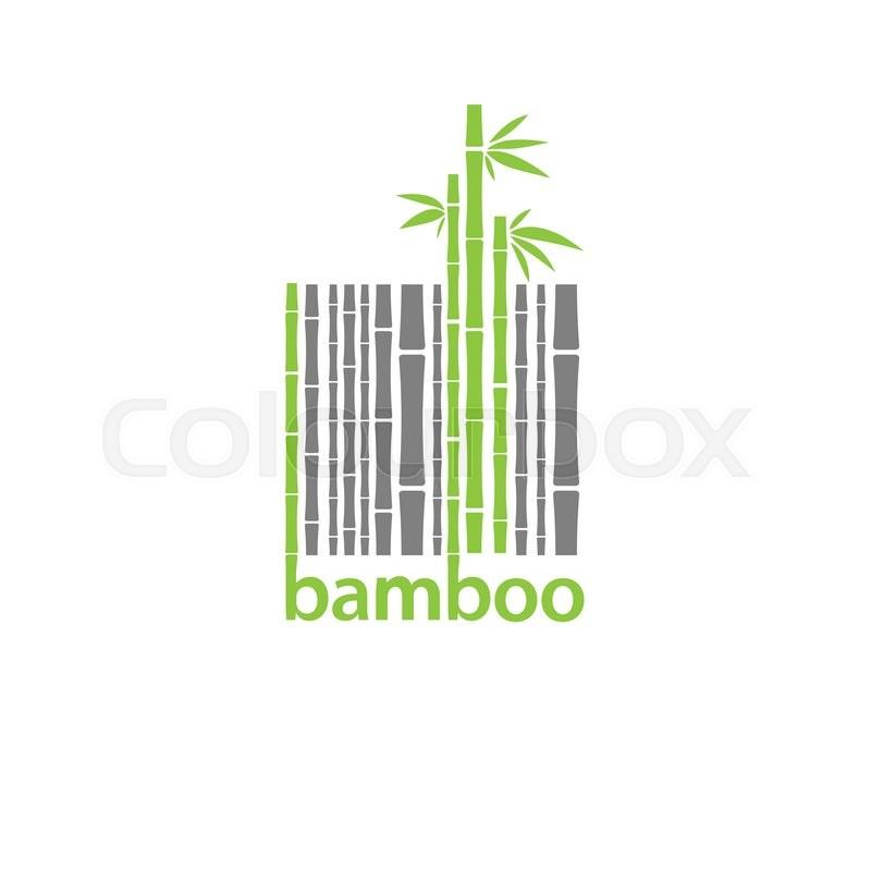 Bamboo Logo Symbol Stylized As Barcode Vector Illustration