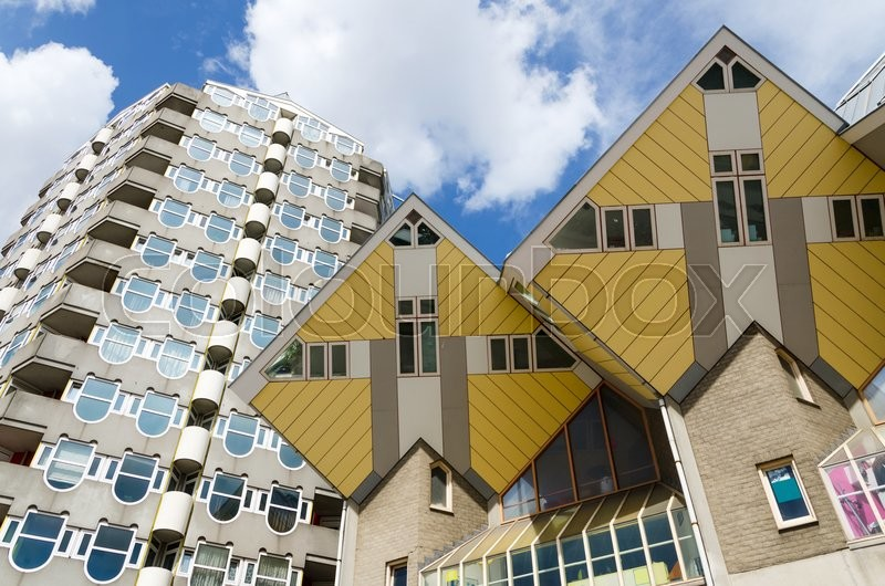 Stock image of 'Pencil tower and cube houses in the center of the Rotterdam, The Netherlands'