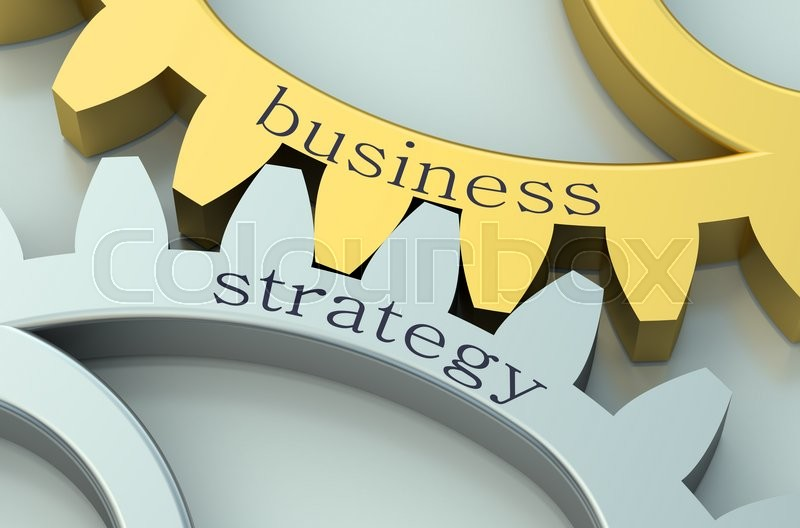 Stock image of 'Business and Strategy concept on metallic gearwheel'