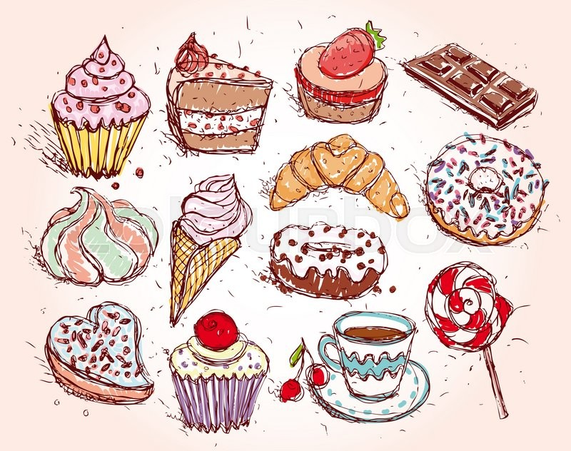 Stock image of 'Hand drawn confectionery set croissant Cupcake candy marshmallow ice cream cake donut and coffee. '
