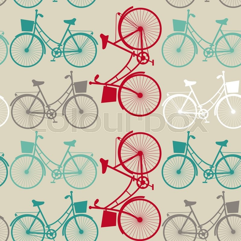Stock image of 'Vintage seamless background with bicycles.  silhouette'