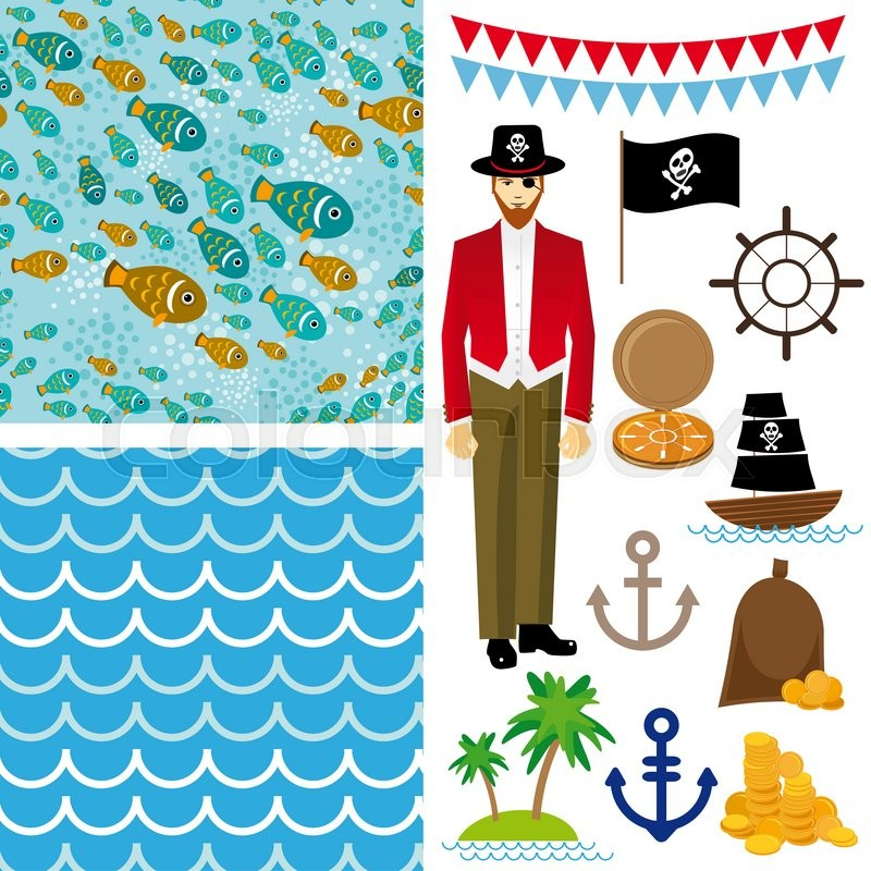 Stock image of 'Cute pirate objects collection. seamless background.  '