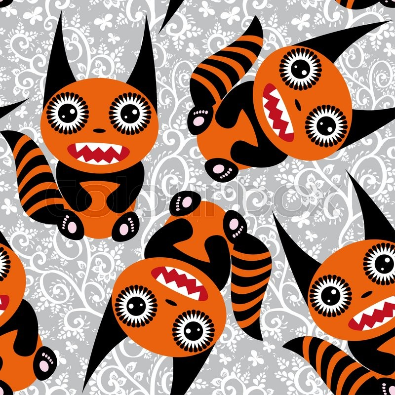 Stock image of 'Cute tsartoon orange monster with a striped tail seamless pattern. '