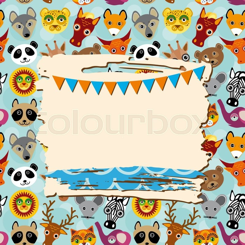 Stock image of 'Vintage scrap template card with photo frame and animals background, pattern.  '