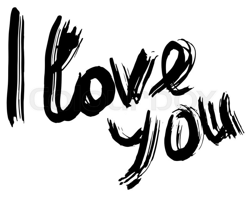 Stock image of 'I love you hand lettering. Handmade calligraphy.  grunge'