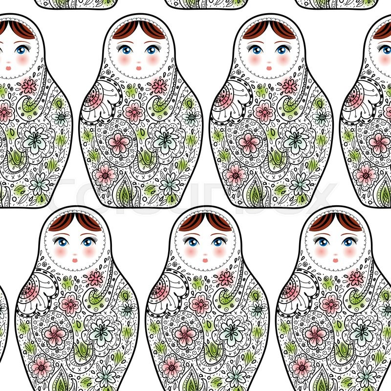 Stock image of 'Pattern with the Russian dolls matrioshka Babushka on sketch white background. '