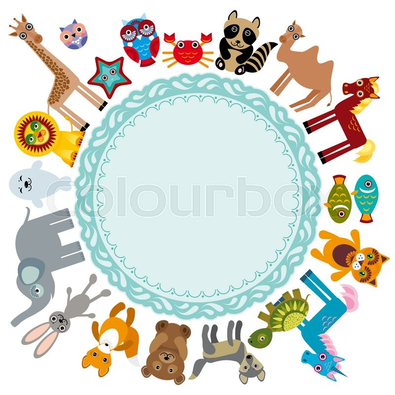 Stock image of 'Set of funny cartoon animals character on a white background walking around globe. frame for your text. zoo. '