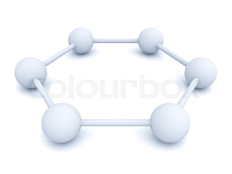 Stock image of '3d white hexagonal molecular structure model isolated over white background with shadow'