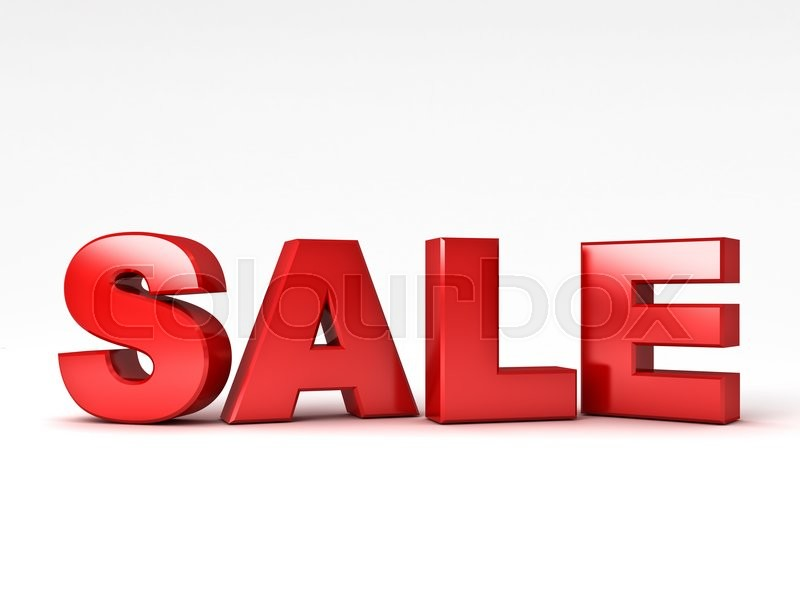 Stock image of '3d red sale word over white background with reflection'