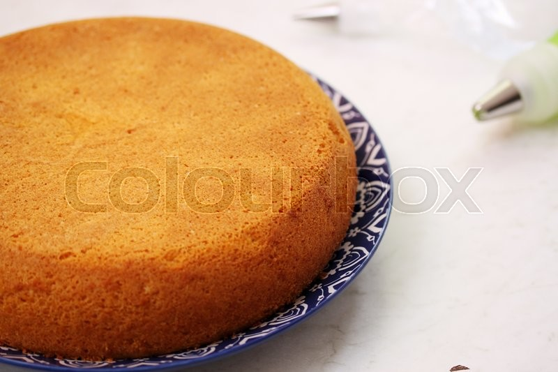 Stock image of 'Sponge cake without cream, preparation for cake'