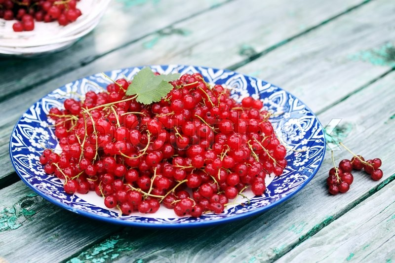 Stock image of 'Ripe organic red currants on a large plate with ornament'