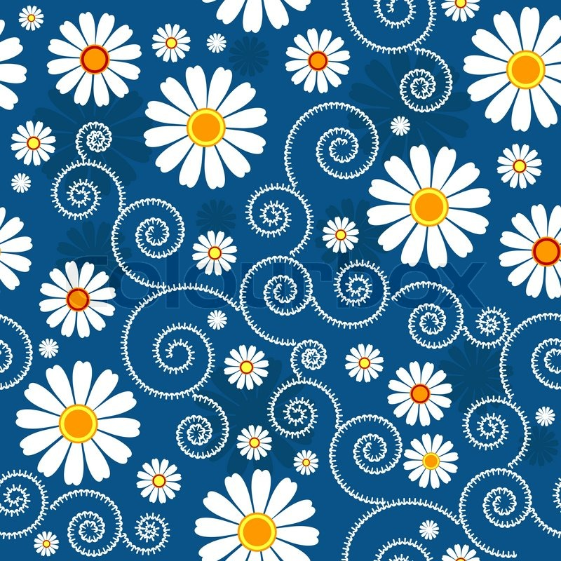 dark blue floral pattern with white flowers vector