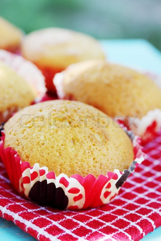 Stock image of 'Homemade muffins on the table in the garden'