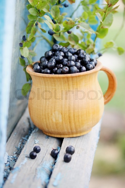 Stock image of 'Forest blueberries in a large, black bowl'