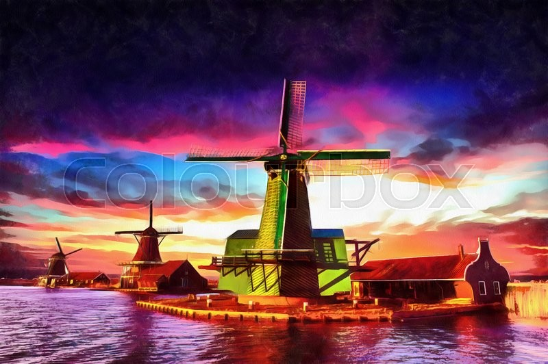 Stock image of 'The works in the style of watercolor painting. Traditional Dutch windmills from the channel Rotterdam. Holland.'