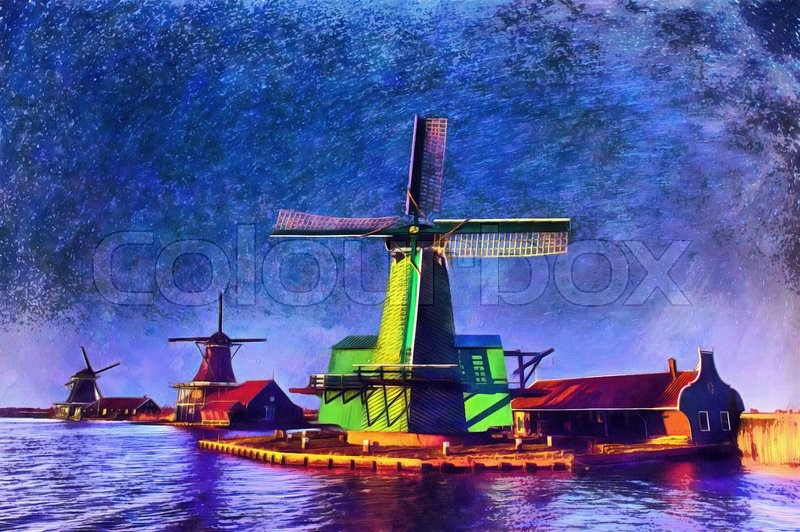 Stock image of 'The works in the style of watercolor painting. Starry sky over Dutch windmills from the canal in Rotterdam.'