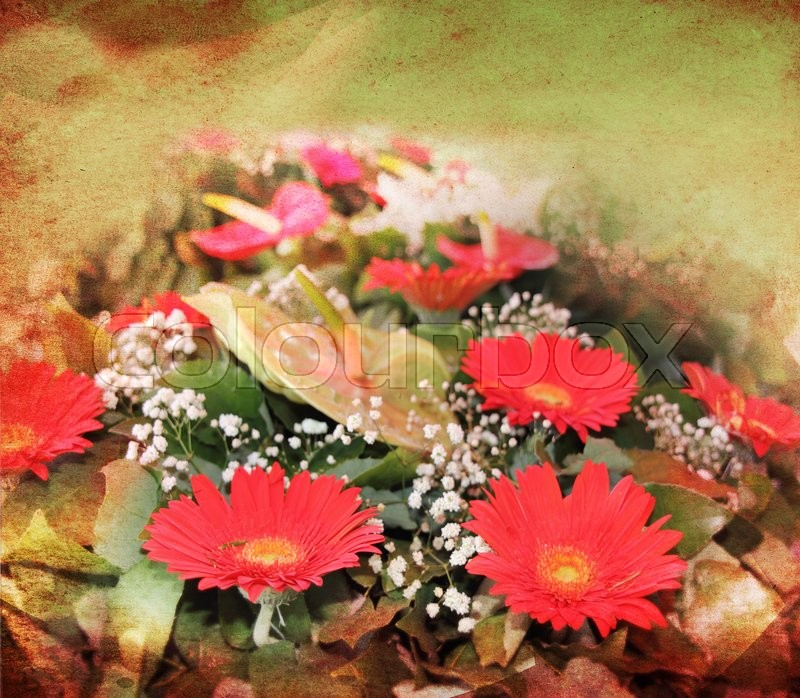 Stock image of 'Abstract floral background with a bouquet of red  flowers'
