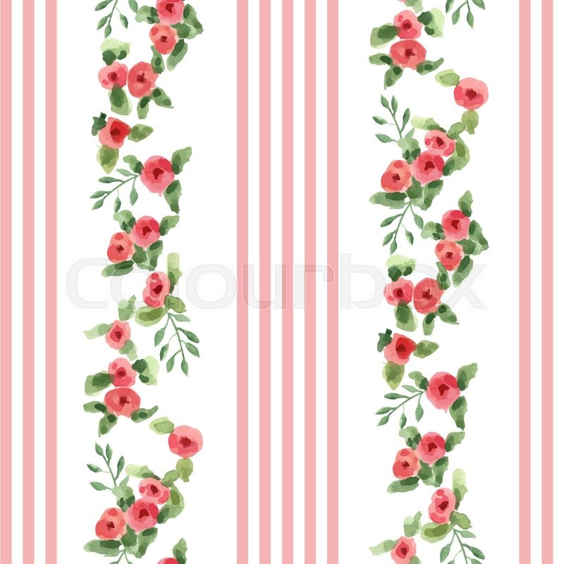 english floral pattern with stripes vector floral vintage wallpaper