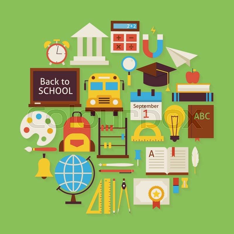 Modern Classroom Clipart ~ Back to school and education vector flat design circle