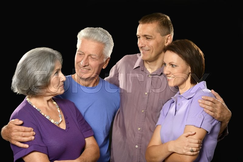 Stock image of 'Portrait of a family with senior parents'