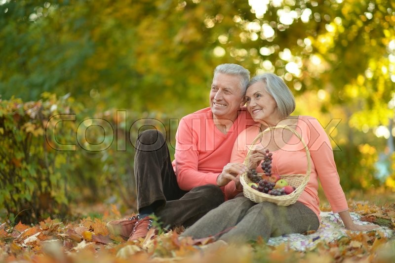 Stock image of 'Beautiful caucasian elderly couple in the park in autumn'