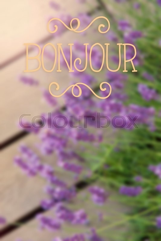 Stock image of 'Image of blurred background with bonjour text (hello in french).'