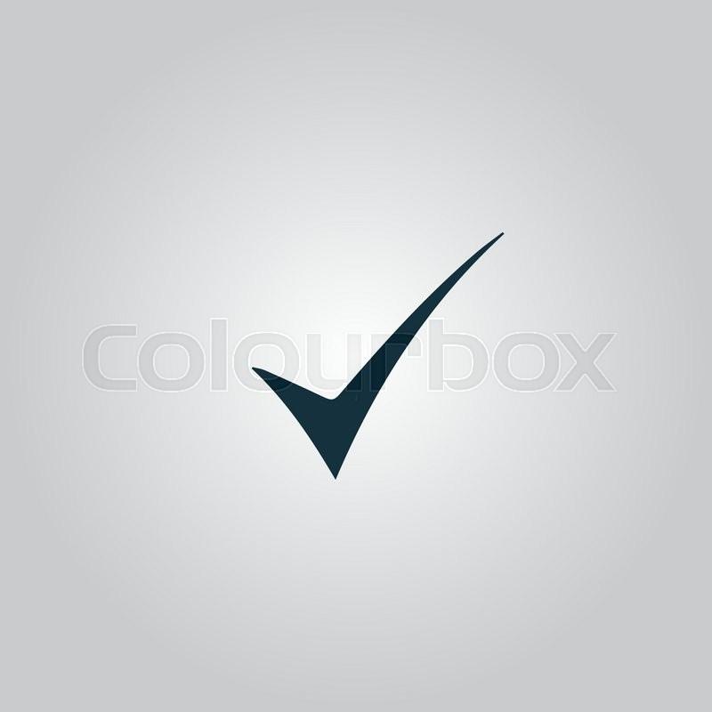 Elegant Check Mark Flat Web Icon Or Sign Isolated On Grey