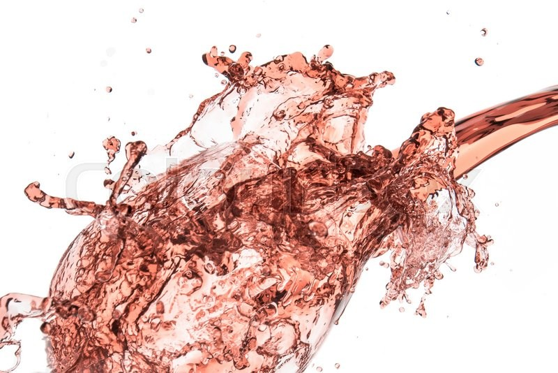Stock image of 'rose wine splashing on white background'