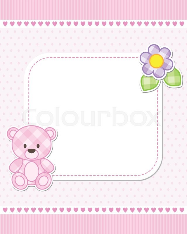 Illustration of pink teddy bear for girl. Vector template with place ...
