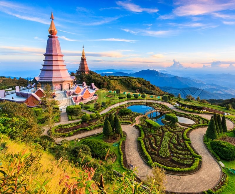 Stock image of 'Landscape  pagoda in Inthanon national park Thailand, They are public domain or treasure of Buddhism, no restrict in copy or use'