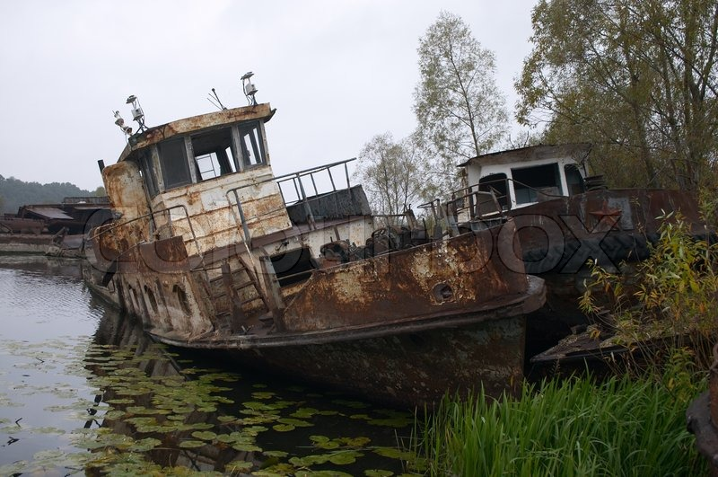 Blasted rusty boat in the river near of Chernobyl | Stock Photo ...