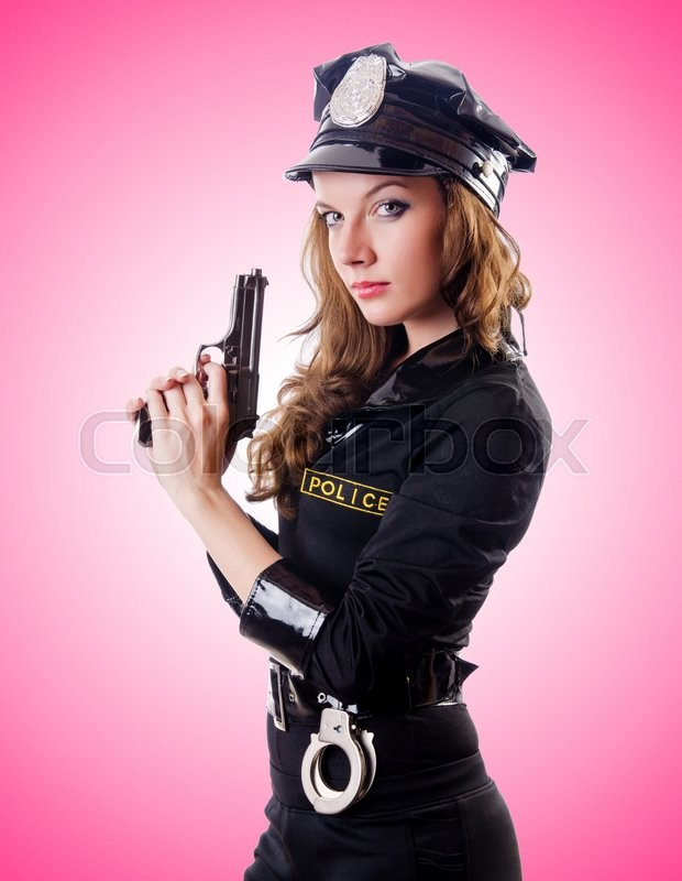Stock image of 'Female police against the gradient '