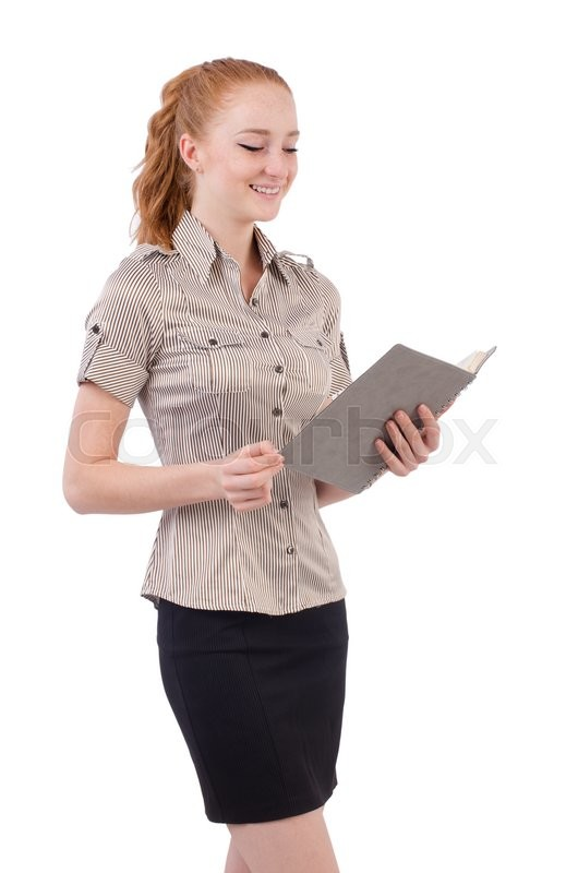 Stock image of 'Pretty young employee with paper isolated on white'