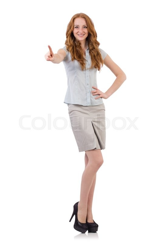 Stock image of 'Pretty young employee isolated on white'