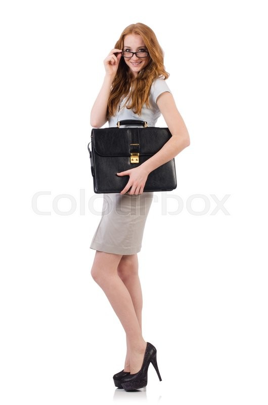 Stock image of 'Pretty young employee with briefcase isolated on white'