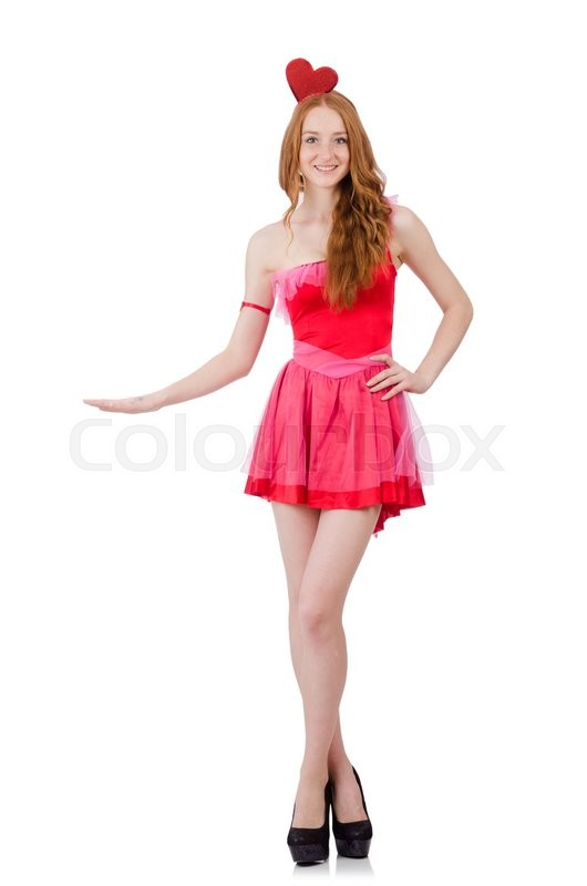 Stock image of 'Pretty young model in mini pink dress isolated on white'