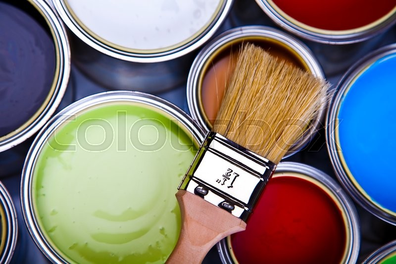 Paint and brushes, bright colorful tone concept, stock photo