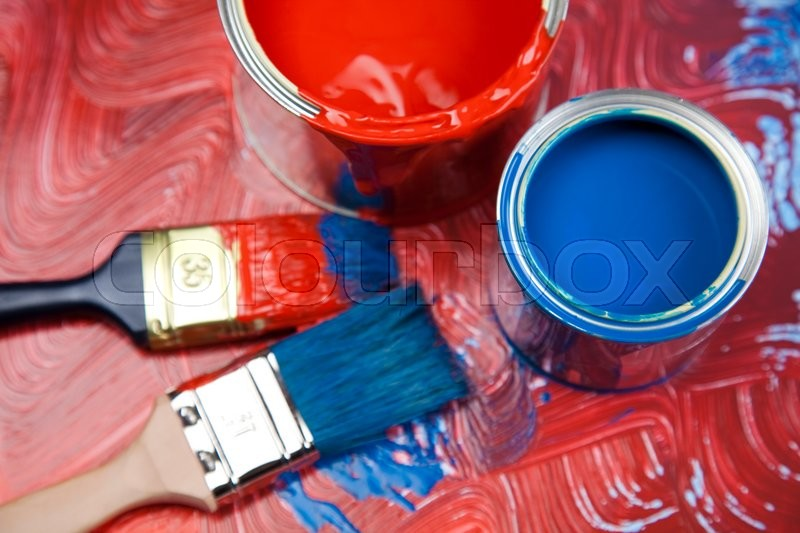 Paint brush and cans, bright colorful tone concept, stock photo