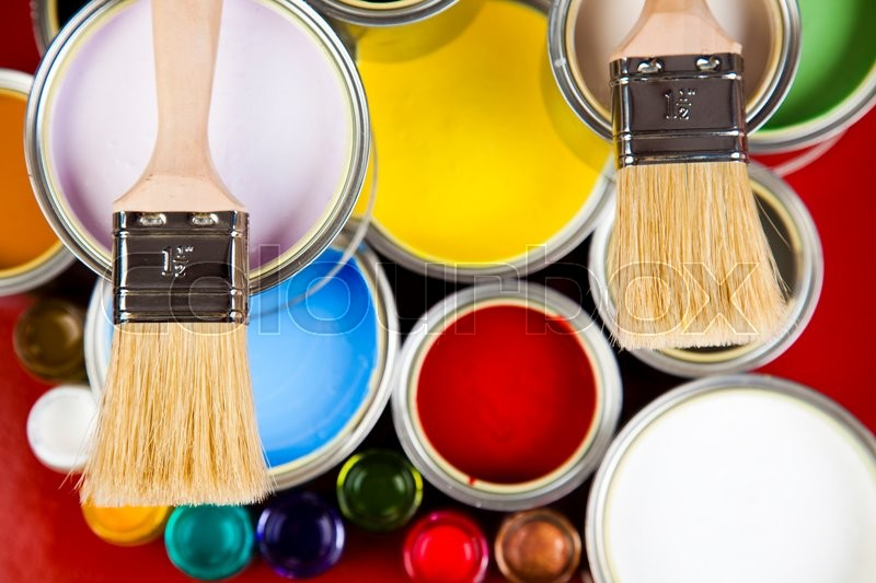 Paint and cans, bright colorful tone concept, stock photo