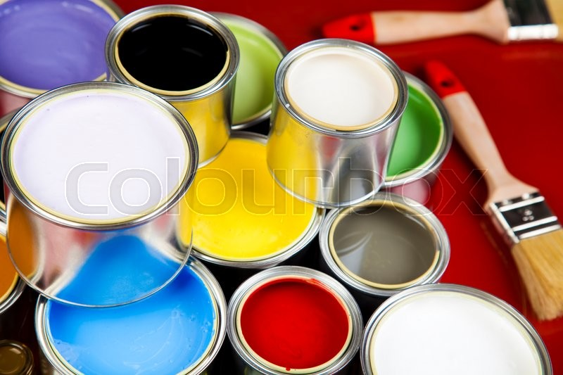 Paint cans, bright colorful tone concept, stock photo
