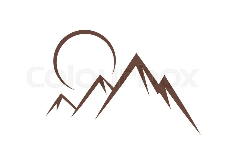 mountain sunset symbol icon vector illustration stock. Black Bedroom Furniture Sets. Home Design Ideas