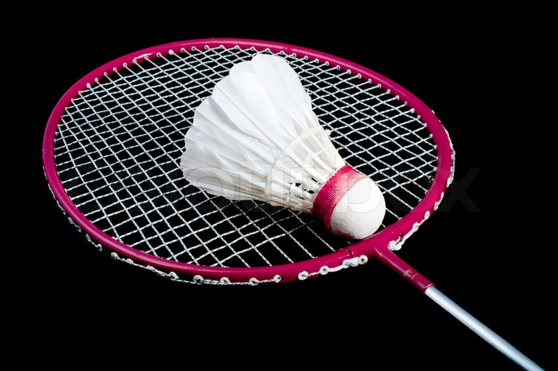 Badminton racket and shuttlecock isolated on a black background  stock    Badminton Racket And Shuttlecock