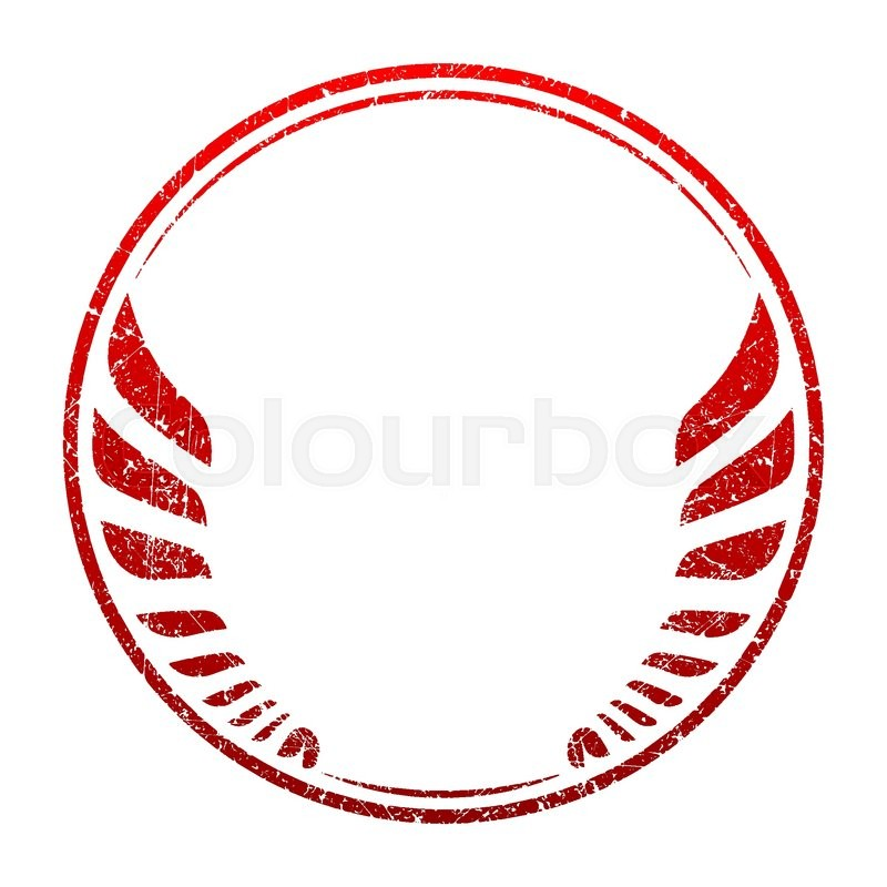 Red Grunge Rubber Stamp Template With Wings And An Empty Space For