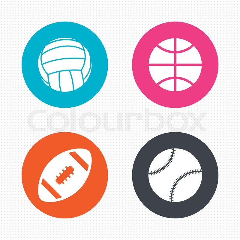 Circle buttons. Sport balls icons. Volleyball, Basketball, Baseball and American football signs. Team sport games. Seamless squares texture. Vector, vector