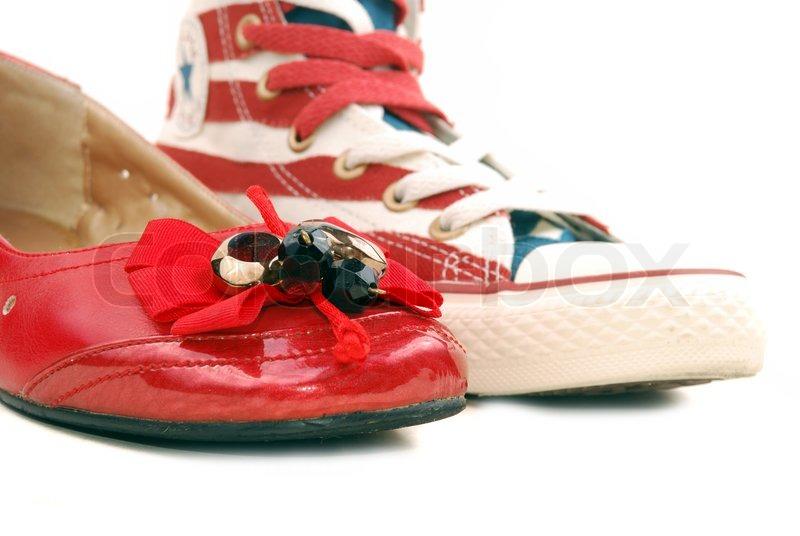 Moderne røde sko på en hvid baggrund | Stock foto | Colourbox