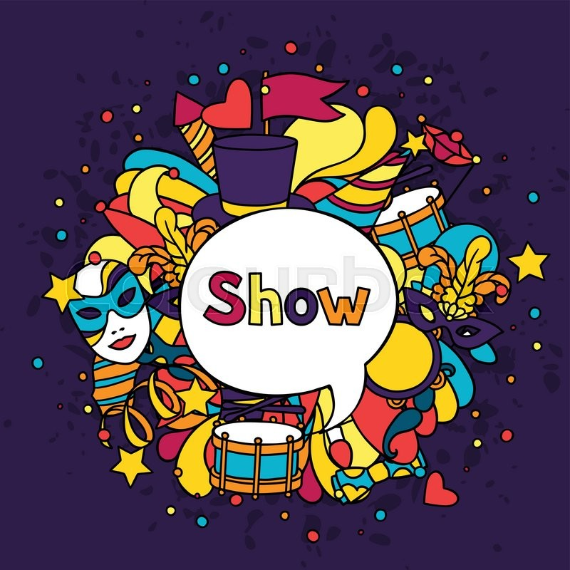 Carnival show background with doodle     | Stock vector | Colourbox