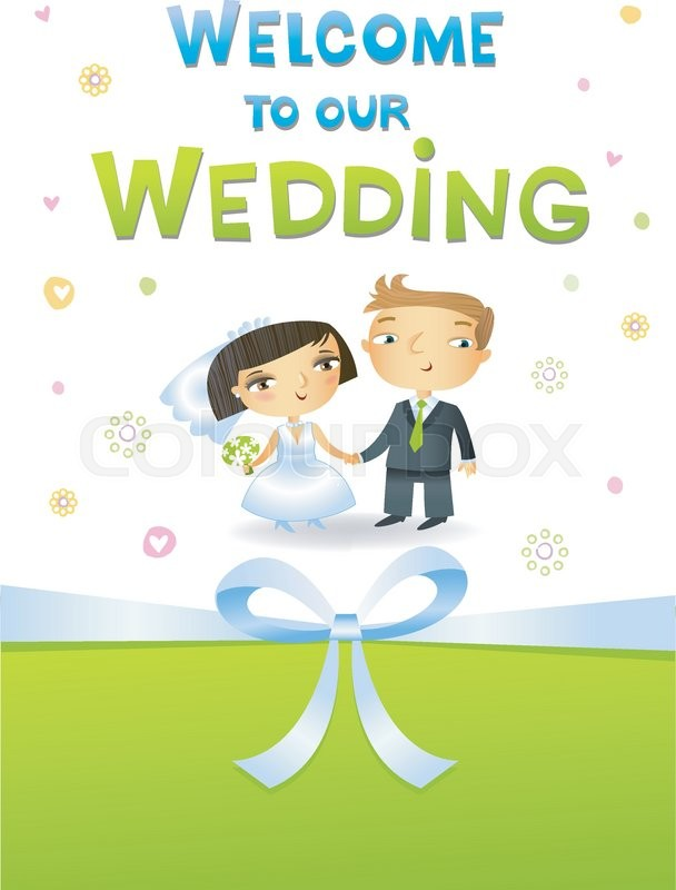 Wedding invitation with bride and groom in cartoon style | Stock ...