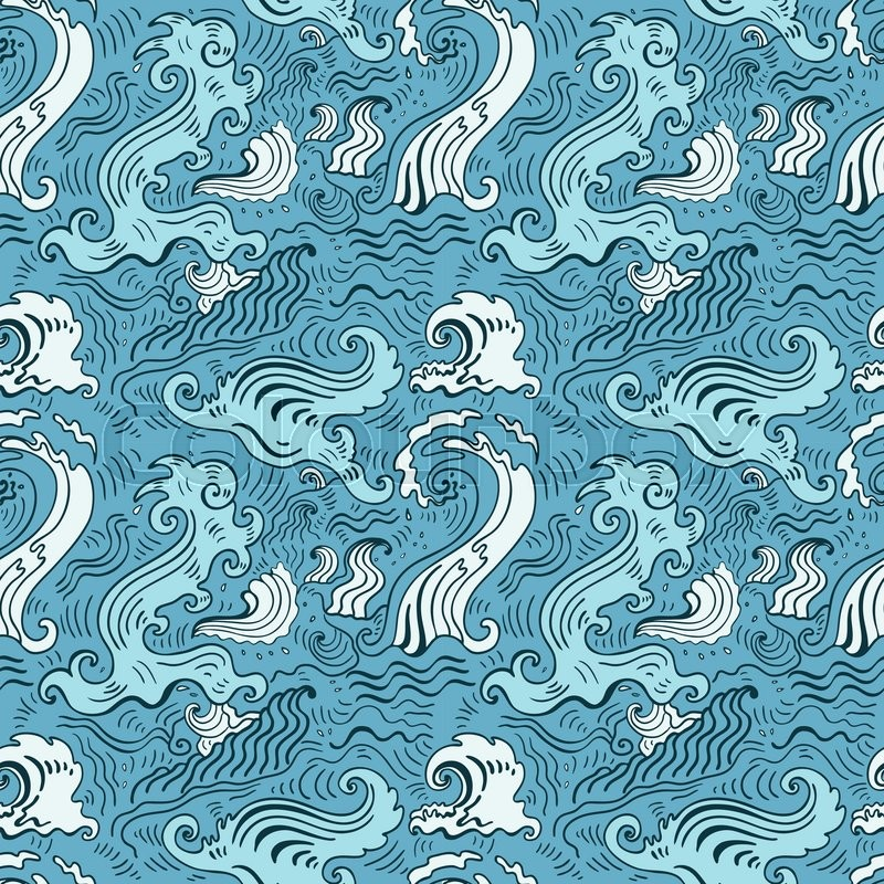 sea waves pattern seamless wave stock vector
