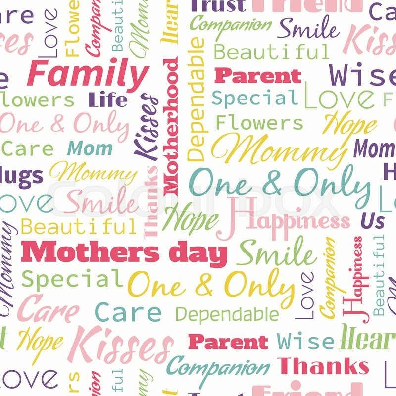 vector mother s day seamless pattern with words for mother stock