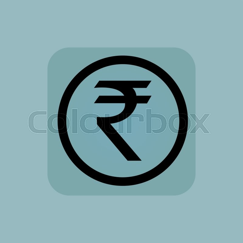 Indian Rupee Symbol In Circle In Square On Pale Blue Background